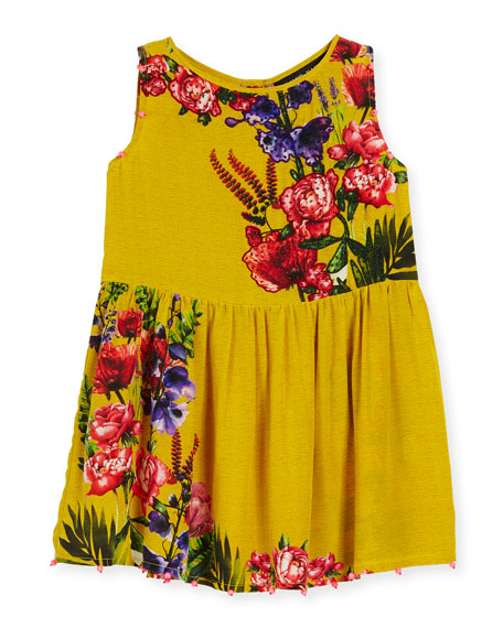 Silk Crepe Bead-Trim Dress, Yellow, Size 4-6