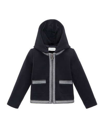 Hooded Fleece Metallic-Trim Jacket, Black, Size 8-14