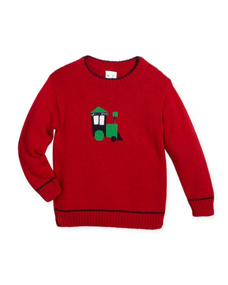 Boys' Knit Train Intarsia Sweater, Size 2-4