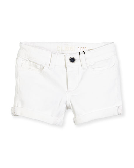 DL1961 Premium Denim Girls' Piper Cuffed Denim Shorts, Griffon, Size 7-16
