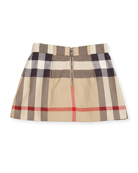 Kittie Classic Check Pleated Skirt, Tan, Size 4-14