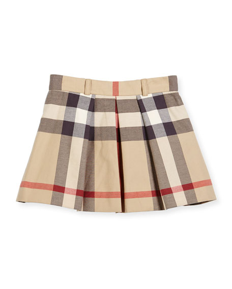Burberry Kittie Classic Check Pleated Skirt, Tan, Size