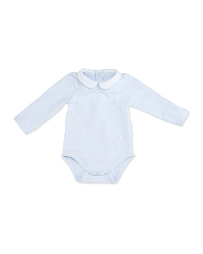 Long-Sleeve Collared Jersey Playsuit, Blue, Size 3-18 Months
