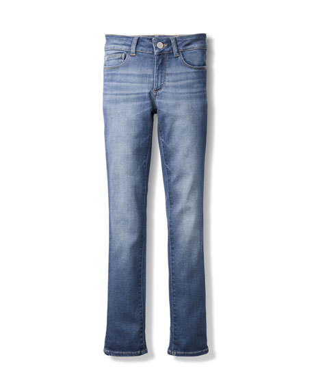 DL1961 Premium Denim Chloe Skinny Mid-Rise Faded Jeans,
