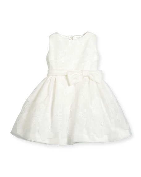 Helena Sleeveless Floral Tulle A-Line Dress, White, Size