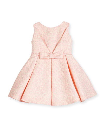 Sleeveless Pleated Jacquard Fit-and-Flare Dress, Pink, Size 2-6