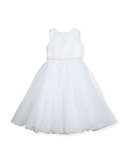 Sleeveless Embellished Satin & Tulle Special Occasion Dress, White, Size 5-14