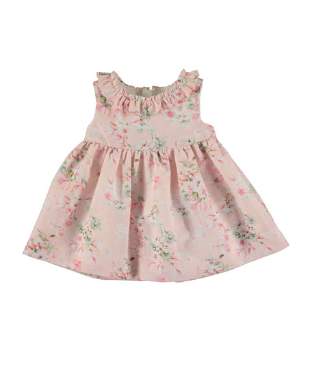 Mayoral Sleeveless Floral Linen-Blend Dress w/ Bloomers, Rose,