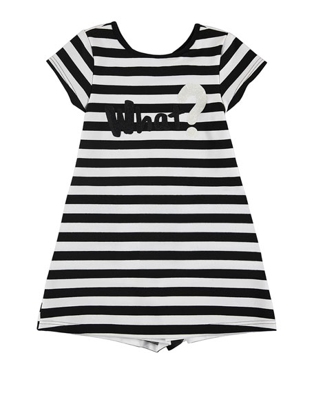 MAYORAL Cap-Sleeve Striped Jersey Dress, Black/White, Size 8-16
