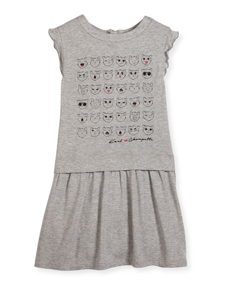 Karl Lagerfeld Faces of Choupette Jersey Dress, Gray,