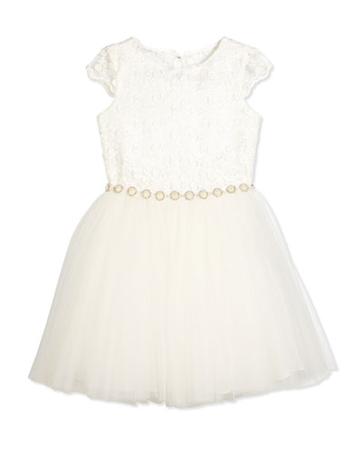 Cap-Sleeve Lace & Tulle Special Occasion Dress, Ivory, Size 8-12