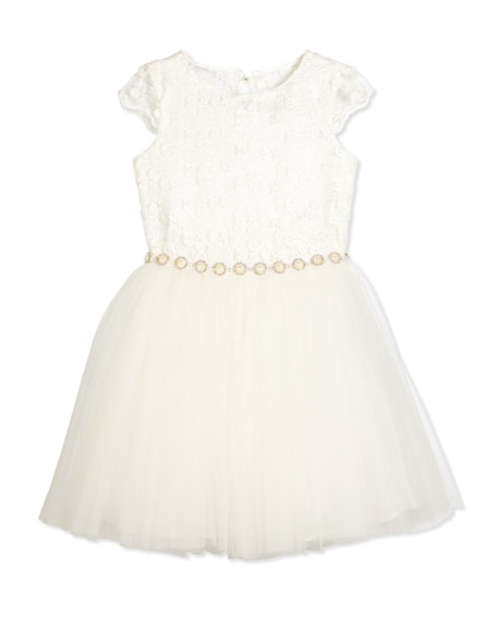 David Charles Cap-Sleeve Lace & Tulle Special Occasion