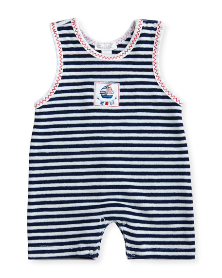 Kissy Kissy Seven Seas Striped Terry Overalls, Blue,