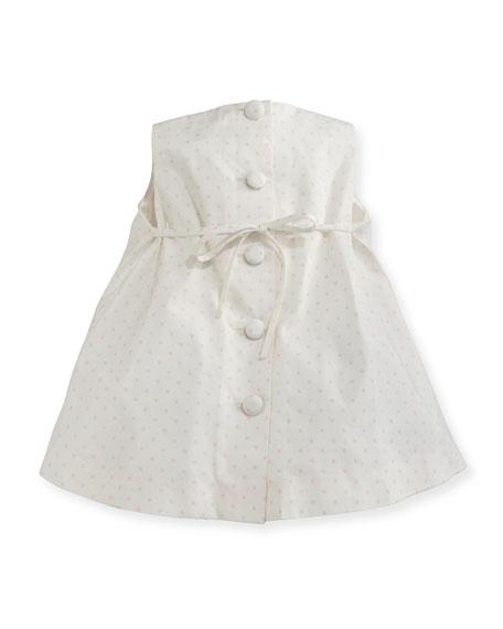 Sleeveless Pleated Polka-Dot Shift Dress, Pink/White, Size 2-6