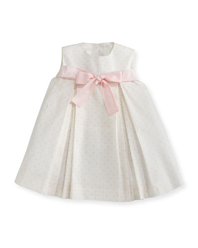 Sleeveless Pleated Polka-Dot Shift Dress, Pink/White, Size 2-6