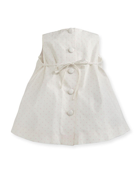 Sleeveless Pleated Polka-Dot Shift Dress, Pink/White, Size 6-18 Months
