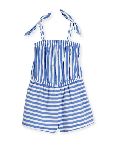 Striped Chambray Romper, White/Blue, Size 4-7