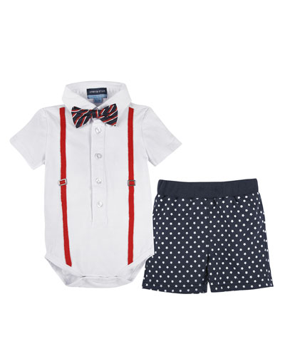 Short-Sleeve Polo Suspender Shirtzie™ w/ Star-Print Shorts, White, Size 3-24 Months
