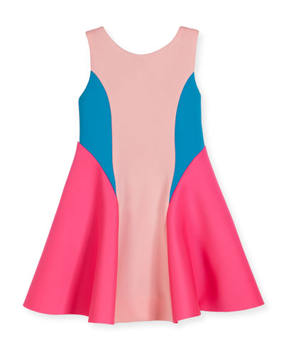 Sleeveless Colorblock Scuba Fit-and-Flare Dress, Pink, Size 7-16