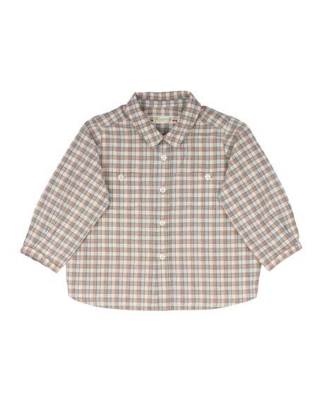 Bonpoint Long-Sleeve Plaid Poplin Shirt, Size 6-12 Months