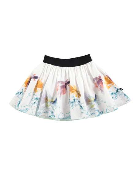 Brenda Graceful Swimmers A-Line Skirt, White, Size 2T-14