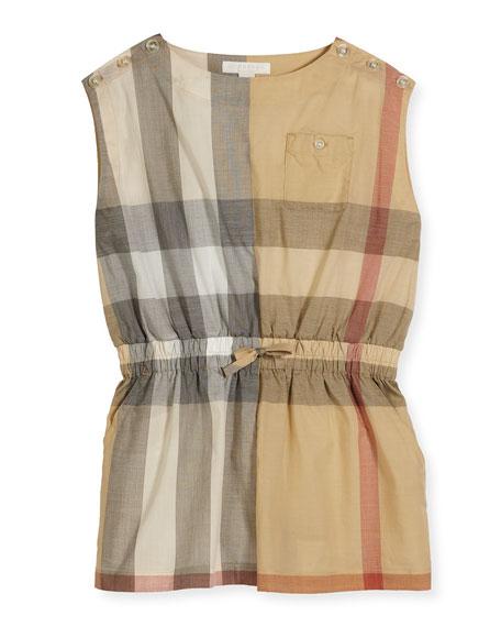 Burberry Rosanna Sleeveless Check Romper, Neutral, Size 4-14