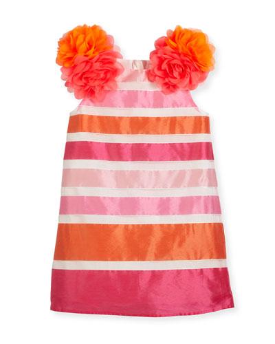 Nelly Sleeveless Striped Taffeta Pompom Dress, Pink, Size 2-4