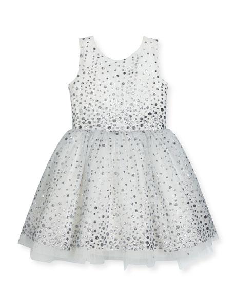 Aria Sleeveless Metallic Polka-Dot Tulle Dress, White/Silver, Size 2-6