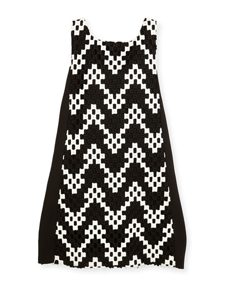 Zoe Riley Sleeveless Colorblock Chevron Shift Dress, Black/White,