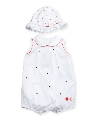 Sleeveless Bubble Playsuit w/ Sun Hat, White, Size 3-9 Months