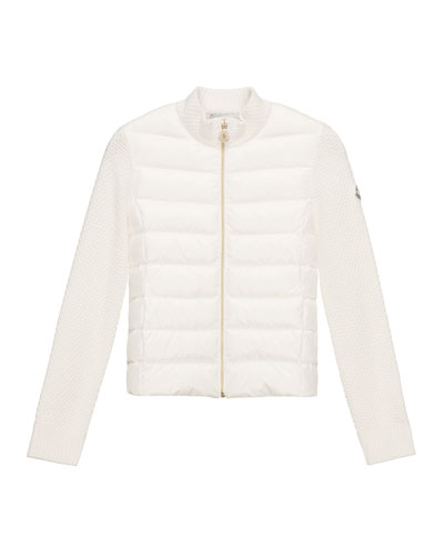 Puffer-Front Tricot Jacket, White, Size 8-14