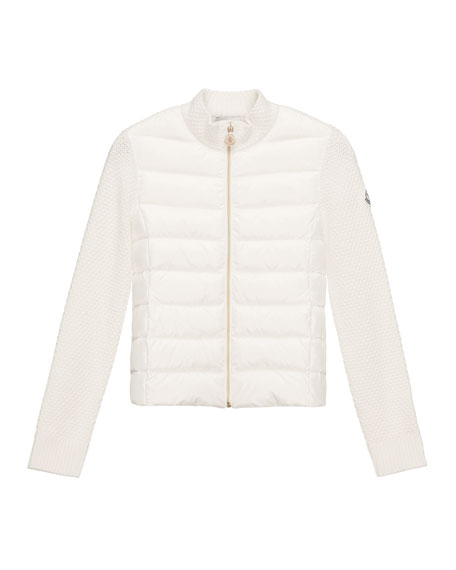 Moncler Puffer-Front Tricot Jacket, White, Size 8-14