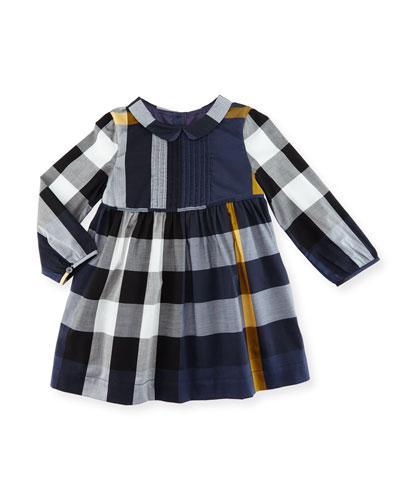 Liz Long-Sleeve Check Dress, Size 6M-3T