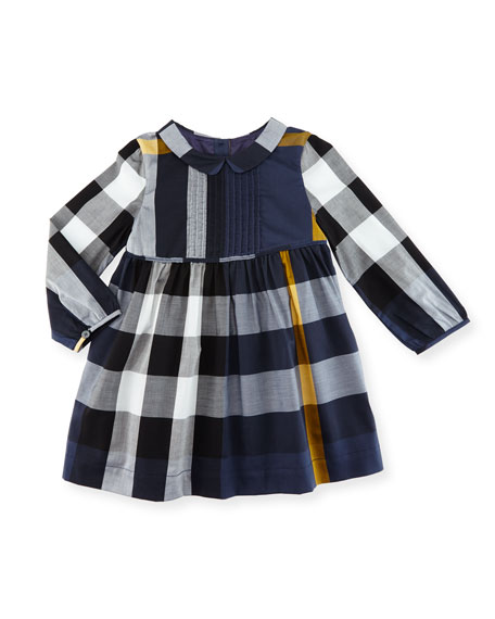 Burberry Liz Long-Sleeve Check Dress, Size 6M-3T