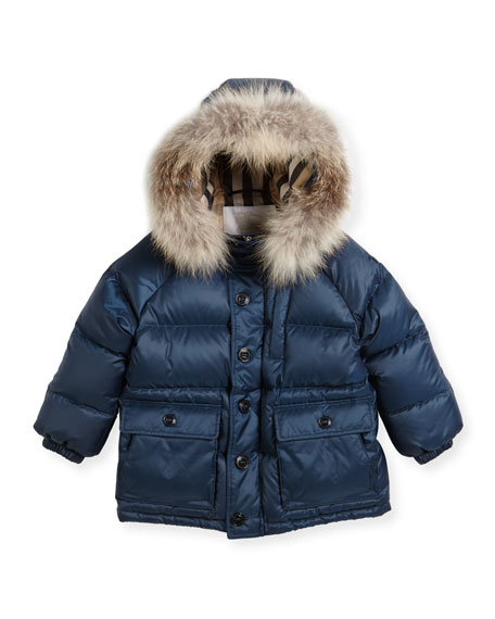 Burberry Lachlan Fur-Trim Hooded Puffer Jacket, Size 4-14
