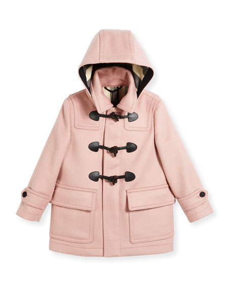 Burberry Burwood Hooded Wool Toggle Coat, Rose, Size