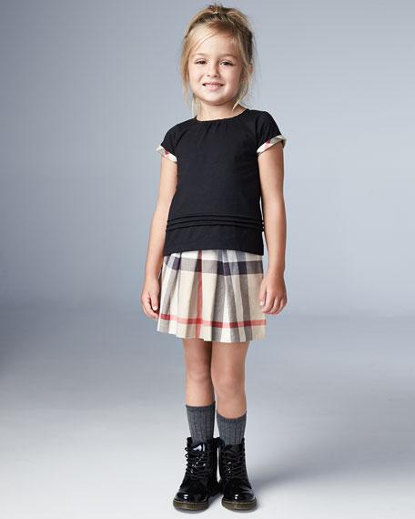 Gisselle Pintucked Melange Jersey Tee, Black, Size 4-14