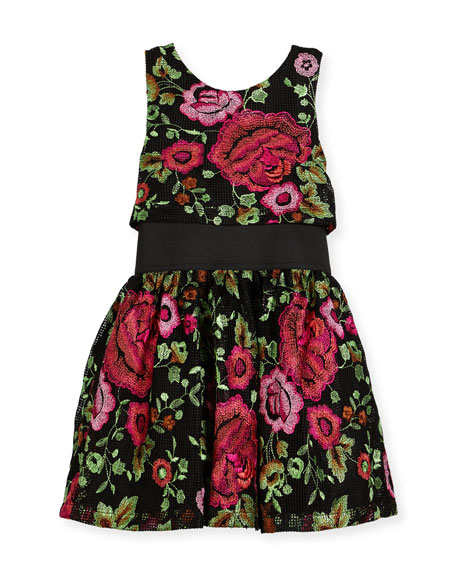 Zoe Valentine Elastic-Waist Rose-Print Dress, Size 4-6X and