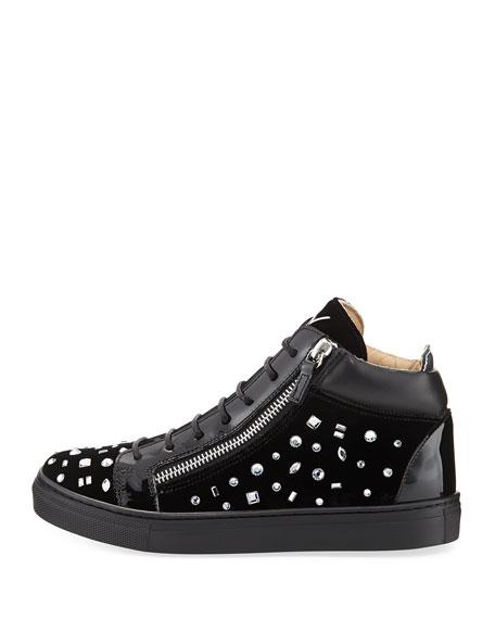 Girls' London Velvet & Crystal Mid-Top Sneaker, Youth