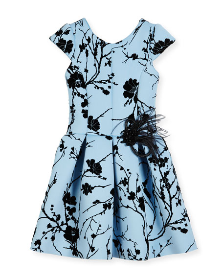 Sky Silhouette Box-Pleated Dress, Size 2-6X