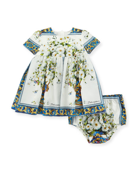 Dolce & Gabbana Short-Sleeve Flower Vase Dress w/