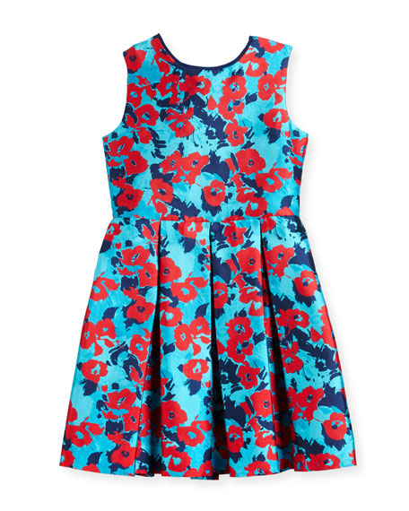 Oscar de la Renta Floral Mikado Dress, Blue,