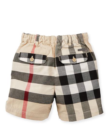 Sean Cotton Check Shorts, Sand, Size 6M-3Y