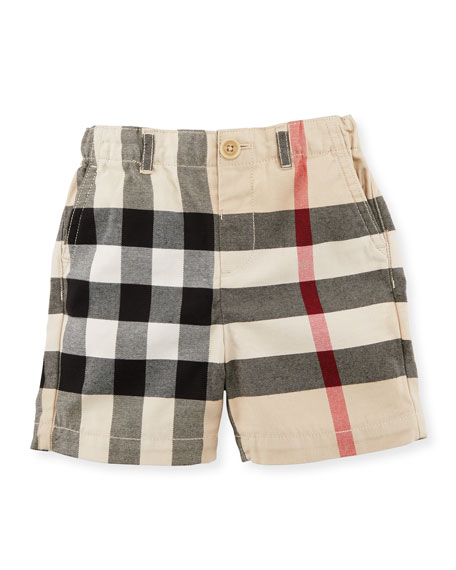 Burberry Sean Cotton Check Shorts, Sand, Size 6M-3Y