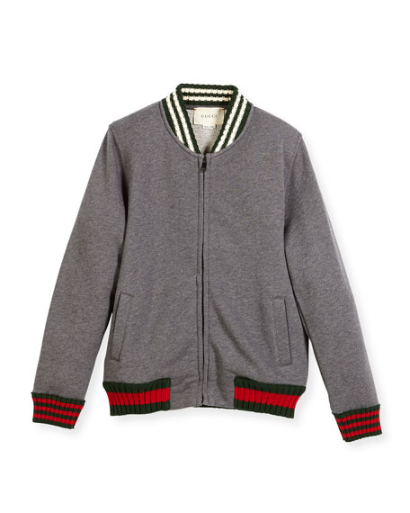 Zip-Up Jacket w/ Web Knit Trim, Size 4-12
