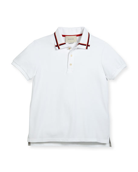 Gucci Short-Sleeve Web Stretch Jersey Polo, Size 4-12