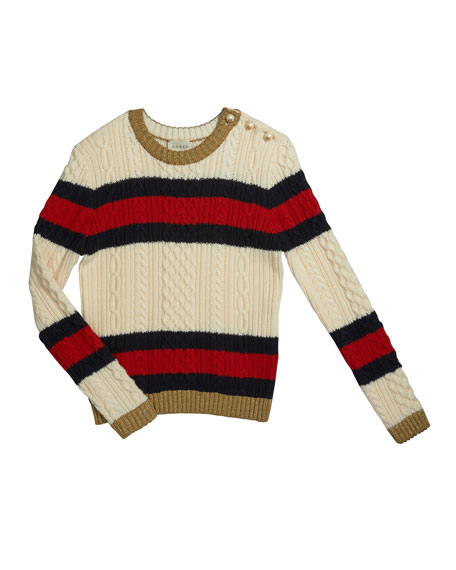 Striped Web Cable-Knit Sweater, Size 4-12