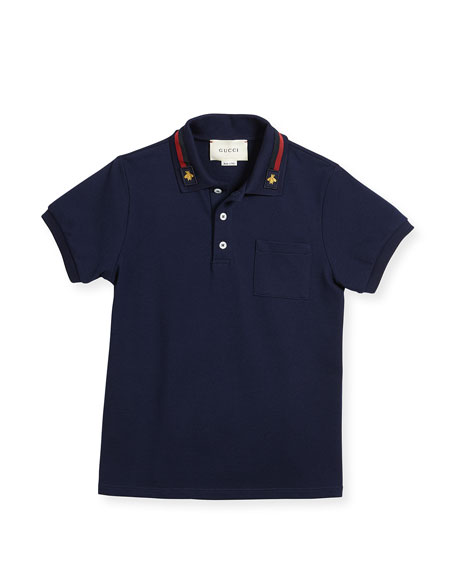 Short-Sleeve Stretch Jersey Polo, Size 4-12