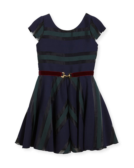 Zoe Ophelia Organza Shadow Stripe Dress w/ Belt,