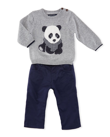 Panda Bear Sweater w/ Jersey Pants, Size 6-36 Months